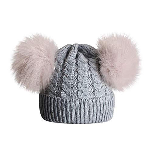 XLGX Mignon Bébé Bonnet à 2 Pompon Fourrure Enfant Fille Chapeau Béret à Laine Tricot Torsade Hiver 0 1 2 3 4 5 6ans (Gris)