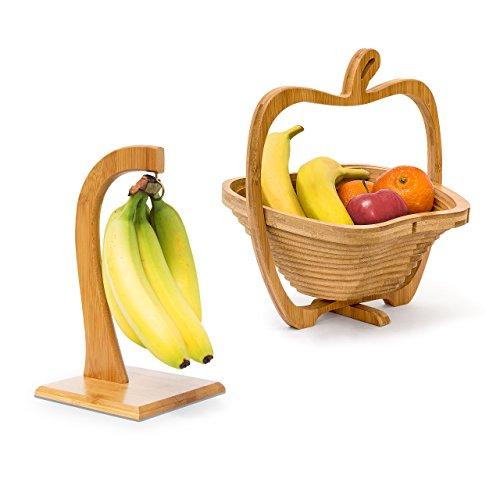 Relaxdays 2 TLG Obst Set, Bananenhalter, Obstkorb, Obsthalter, Obstschale, Obstständer, Faltkorb, Bananenständer, Dekoschale, Holz