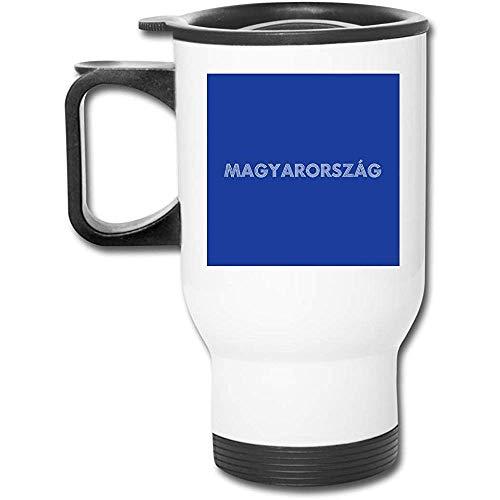 Euro 2016 Fútbol Hungría Magyarorszag Dots Azul 16 Oz Vaso inoxidable Taza de café de vacío de doble pared con tapa a prueba de salpicaduras