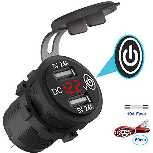 USB Auto Steckdose 12V/24V mit Schalter, KFZ Ladegerät USB Einbau Buchse Wasserdicht Zigarettenanzünder Dose mit rot LED Voltmeter Batterie Spannungsanzeige 5V 24W für Motorrad Boot LKW Wohnwagen ATV