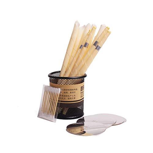 N / A Ohrkerzen-Ohrenreiniger ZusäTzlich Zum Ohrenschmalz-NatüRlichen Bienenkerzen-Ohrkerzenhalter 10 Schutzplatten, 20 WattestäBchen, 20 Kerzen