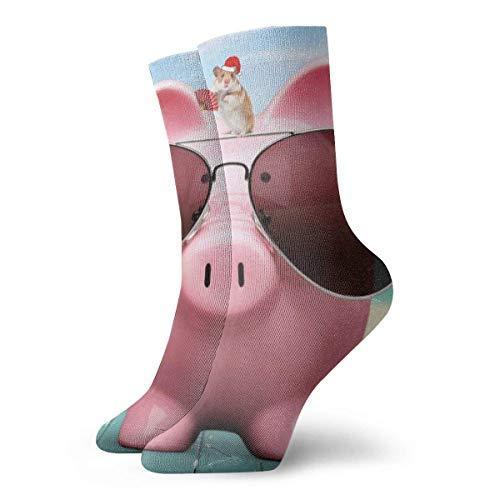 NGMADOIAN Einzigartige rosa Schwein und Sonnenbrille Erwachsene kurze Socken Baumwolle Coole Socken für Herren Damen Yoga Wandern Radfahren Laufen Fußball Sport