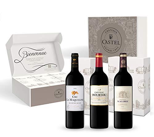 Coffret Cadeau - Vin Rouge - Prix Plaisir Vin de Bordeaux – Cru la Maqueline 2018 – Château Hourtou 2015 – Château Malbec 2018 - 3x75cl
