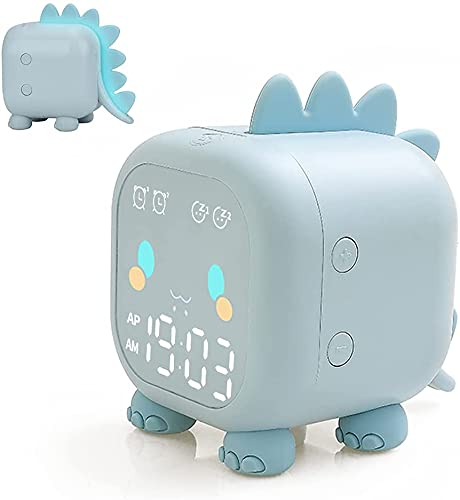 Floridliving Dinosaurio Despertador Infantil, Despertador Niña Niño con Luz Nocturna, Modo De Repetición, Temperatura, Cuenta Regresiva, Control De Voz, Alarma Dual, USB Despertador Digital (Azul)
