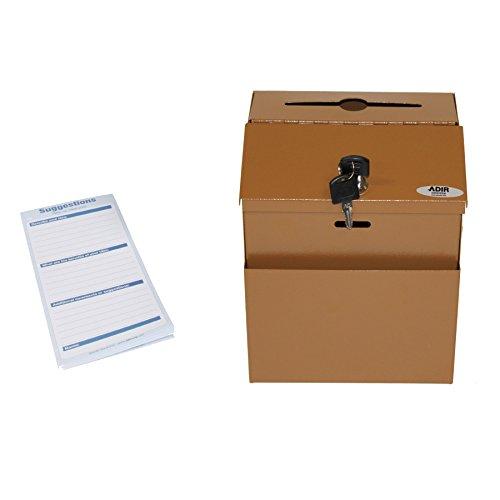 Adir Steel Suggestion Box with Lock- Donation Box - Collection Box - Charity Box - Key Drop Box (Copper)