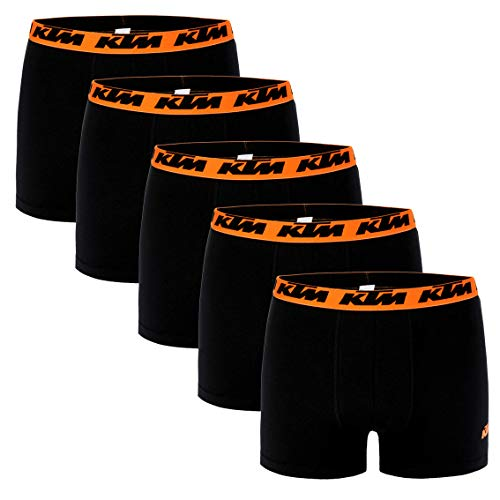 KTM Boxer Men Herren Boxershorts Pant Unterwäsche 5 er Pack, Farbe:Black, Bekleidungsgröße:M