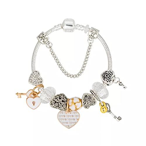 QiuYueShangMao Pulsera Pulsera Rosa para Hacer Joyas, Colgante de Diamantes de imitación, Pulsera para Mujer, joyería de Bricolaje para Boda Pulsera de la Amistad