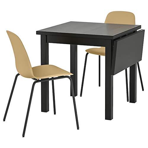 NORDVIKEN/NORDVIKEN - Mesa y 2 sillas, color negro, 74/104 x 74 cm, resistente y fácil de cuidar, conjunto de comedor hasta 2 asientos, mesas y escritorios, muebles ecológicos