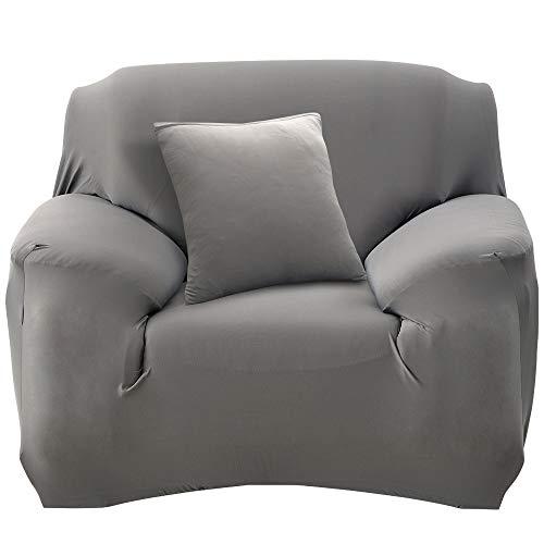 HALOVIE Housse de Canapé Extensible Protection du Sofa Universelle Revêtement de Canapé avec Taie d'oreiller Housse de Fauteuil Confortable dans Le Salon Chambre Maison Gris- 1 Place (90-140CM)