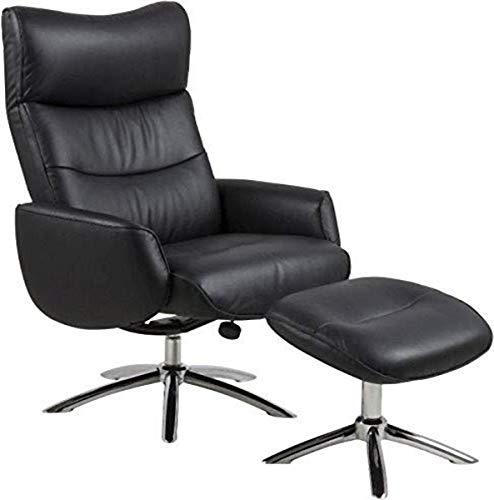AC Design Furniture Sessel Wesley, B: 76 x T:127,5 x H: 108,5 cm, Leder, Schwarz
