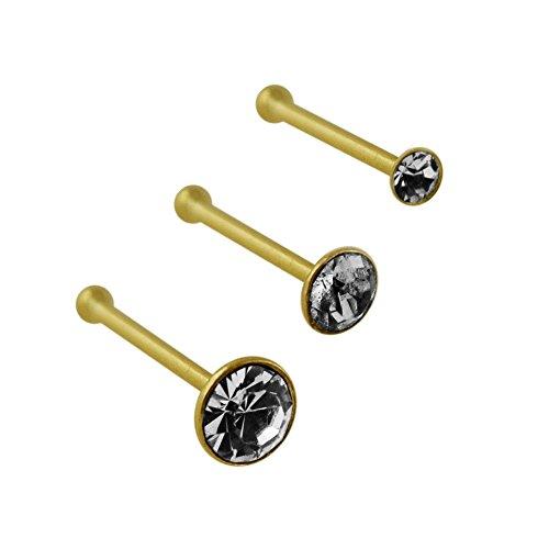 3 Stück Box-Set von 9K Stellen Feste gelbe Gold Kleber echte Kristall 22 Gauge Ende Nase Kugelbolzen Piercing