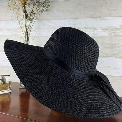 Sombrero de Paja para niñas de ala Ancha Plegable Simple, Sombrero de Playa para Mujer, Sombrero de Verano con protección UV, Gorra de Viaje para Mujer-black-55-58cm