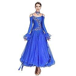 Royal Blue Long-Sleeved V-Neck Standard Dance Dress