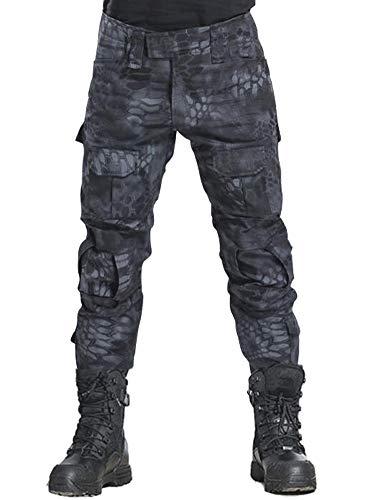 TRGPSG - Pantalones tácticos militares para hombre, estilo informal, camuflaje, BDU, pantalones de trabajo con 10 bolsillos - negro - 56