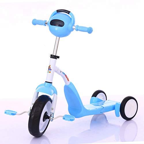 2-in-1 driewielers voor kinderen Peuterfiets Opvouwbare coole muziek Muziekverlichting Driewieler,Blue