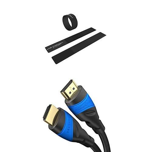 KabelDirekt 2 cm x 16 cm Abrazaderas para Cables, Sujetacables, Reutilizable, 16 Unidades, Atar y Tender Cables, y 1m Cable HDMI 4K