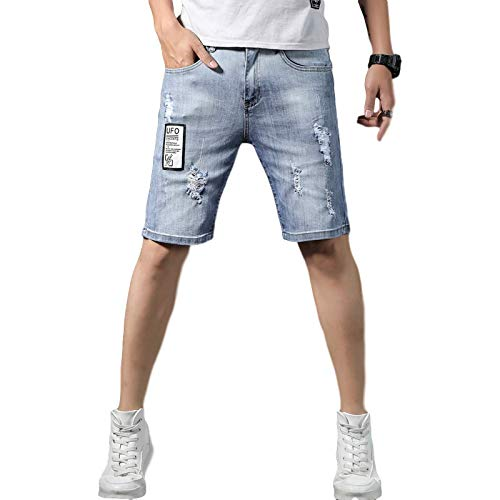 Heren denim korte broek met middelhoge taille Slim fit, gescheurde half spijkerbroek, zomertrend casual stretch denim shorts 38