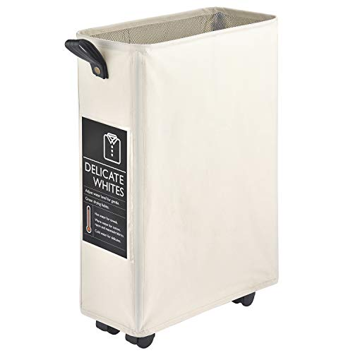 """Laundry Basket on Wheels CAROEAS 22"""" Slim Laundry Hamper Collapsible Rolling Laundry Cart with 6 Cards Leather Handle Brake Slim 22Beige"""