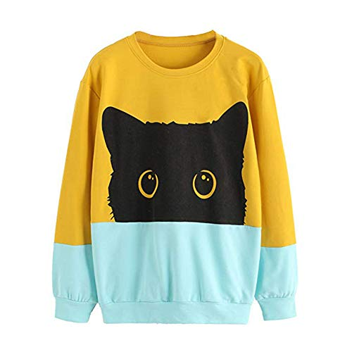 Sweatshirt Pull Femme,Covermason Femmes Occasionnels Chat Impression T-Shirt à Manches Longues Sweat-Shirt Pull Tops Chemisier