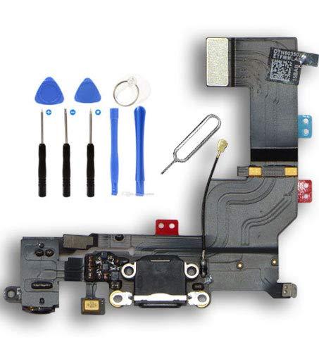 Infigo USB-Dock Connector passend für Apple 5S iPhone Ladebuchse Audiojack Mikrofon mit Werkzeugset (iPhone 5S, Spacegrau)