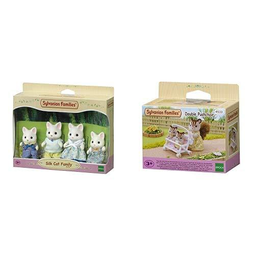Sylvanian Families - 4175 - Familia Gatos de Seda + - 5082 - Silk Cat Twins Mini muñecas y Accesorios
