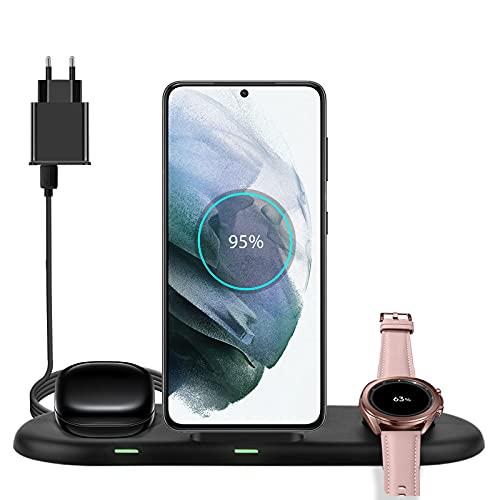 leQuiven Cargador de carga inalámbrica para Samsung, Estación inalámbrico 3 en 1 para Samsung Watch 3 1 Active 2 1 Gear S4 S3, Wireless Charger para Galaxy Watch 1, 2 Gear S3 S4/Galaxy Buds