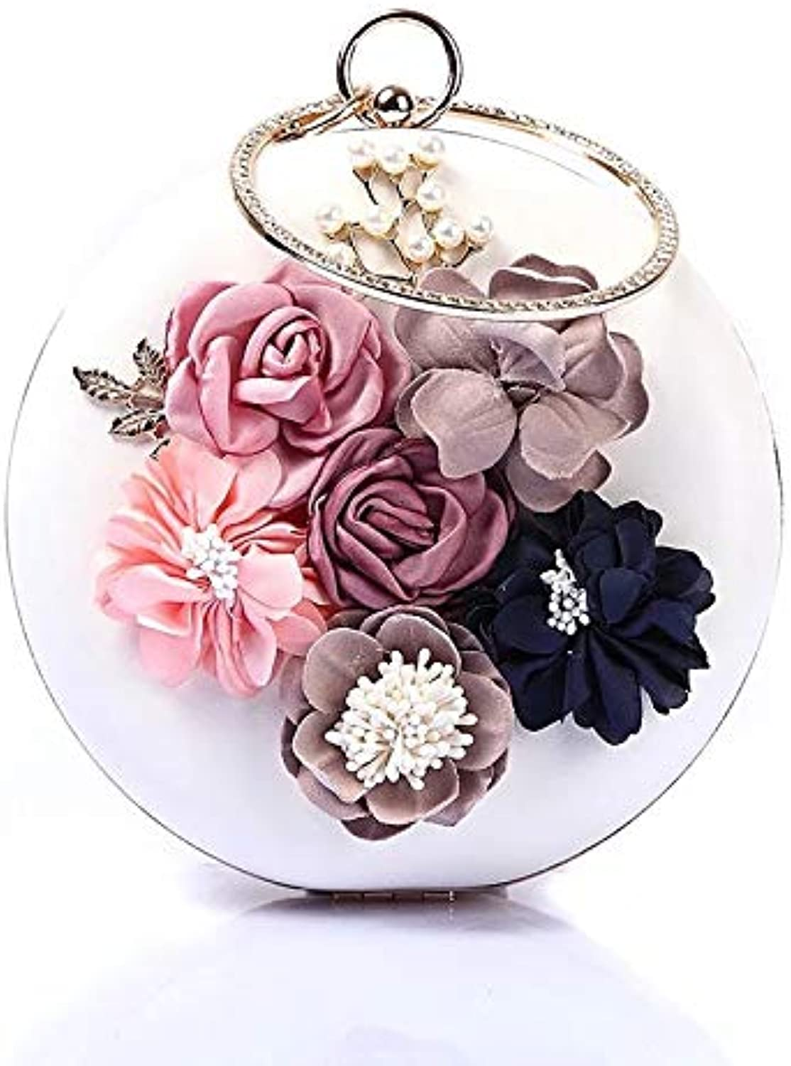 GSYDXKB Abend Party Tasche Cocktail Party Perle Tasche Round Flower Evening Bag Pearl Dinner Bag Dress Evening Bag Clutch
