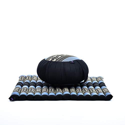Leewadee Set Cuscini da Meditazione: Cuscino Rotondo Zafu E Grande Tappetino Quadrato Zabuton per La Seduta A Pavimento Ecologico Organico E Naturale, Kapok, Blu