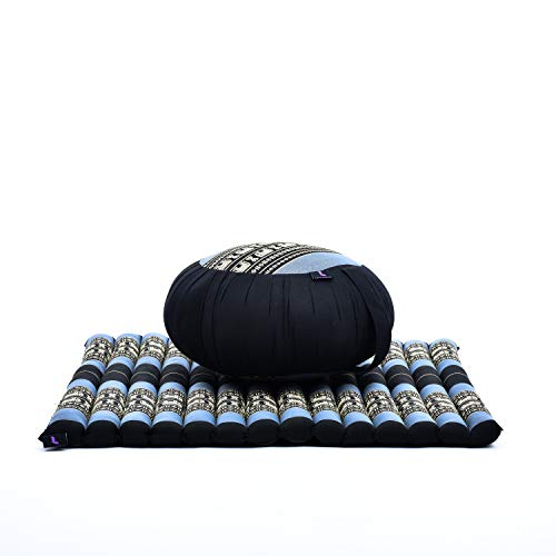 Leewadee Meditation Cushion Set: Round Zafu Pillow and Large Square Zabuton Mat for Floor Seating Eco-Friendly Organic and Natural, Kapok, Blue