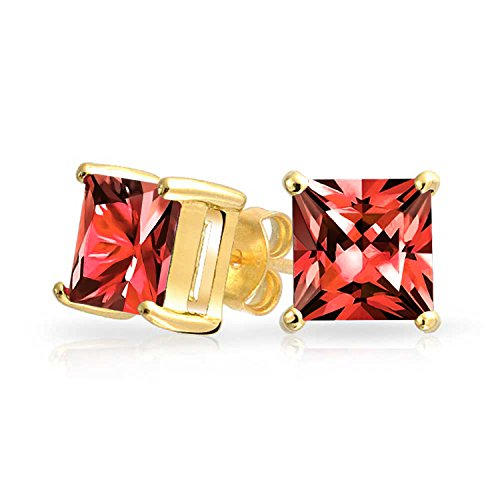 2CT Red Square Cubic Zirconia Brilliant Princess Cut AAA CZ Stud Earrings 14K Gold Plated Sterling Silver Simulated Ruby