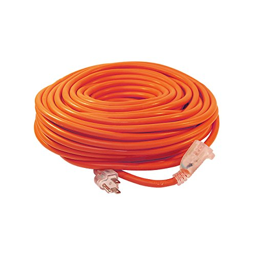 ALEKO ECOI143G100FT Heavy Duty Extension Cord Indoor Outdoor Extension Cord with Lighted Plug ETL Certified SJTW Plug 14/3 Gauge 125 Volt 100 Feet, Orange
