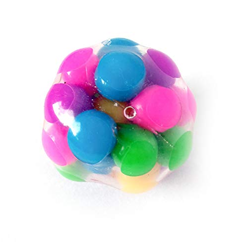 Squeeze Ball Toy, Stress Balls for Kids Stress Relief Ball for Adults, Sensory Fidget Toy Squishy Rainbow Stress Ball with DNA Colorful Beads Stress-Relief and Better Focus Toy (Smooth 1Pcs)