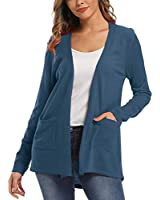 Women's Long Sleeve Open Front Cardigan with Pockets (S, Ink Blue)