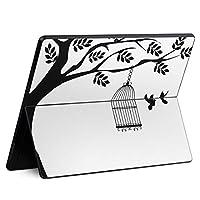 igsticker Surface Pro X 専用スキンシール サーフェス プロ エックス ノートブック ノートパソコン カバー ケース フィルム ステッカー アクセサリー 保護 009706 植物 鳥 モノクロ