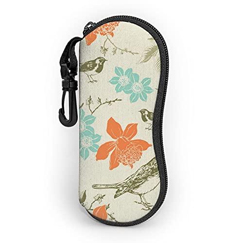 Estuche para gafas vintage patrón de pájaro flor portátil caso ultra ligero neopreno cremallera gafas gafas bolsa con clip para cinturón