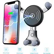 Car Charger, Wireless Fast Car Charger Mount, Air Vent Phone Holder, 10W Compatible for Samsung Galaxy S9/S9+, S8/S8+, S7/S7 Edge, Note8, 7.5W Compatible for iPhone X, iPhone 8/8