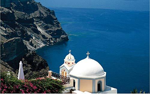 Griekse Santorini-Kerk geschilderd met cijfers DIY uniek