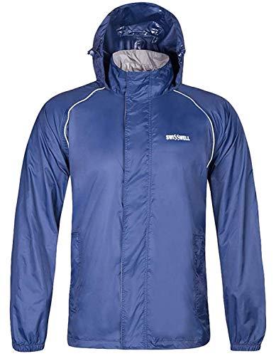 SWISSWELL Rain Coat for Men Waterproof Hooded Rainwear (HC-Blue-Only Rain Jacket, Medium)