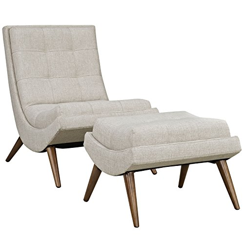 Modway Ramp Fabric Upholstered Lounge and Ottoman 2-Piece Set in Sand