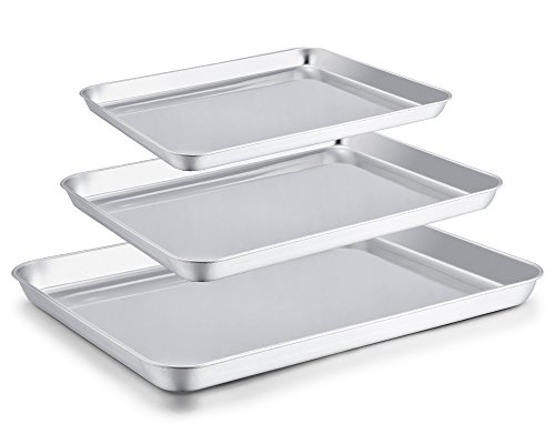 "P&P CHEF Toaster Oven Pan Set of 3, Stainless Steel Small Baking Cookie Sheet Pan, Healthy& Non Toxic & Easy Clean, 3 Size-12.5""/10.5""/9"""