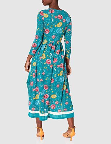 Springfield Vestido Midi Picos Cenefa, Verde, XL para Mujer