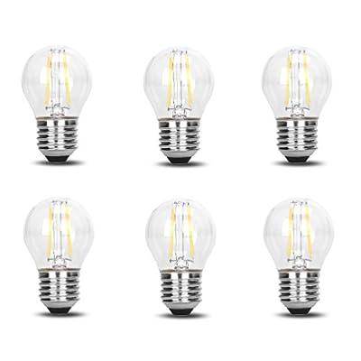 6 Pack DC 12V Retro Industrial Cool White 6000k 2 Watt LED Edison Filament G45 Light Bulb E26 E27 Medium Base Lamp Low Voltage String Pendant Outdoor Landscaping Post Rail Porch Lighting