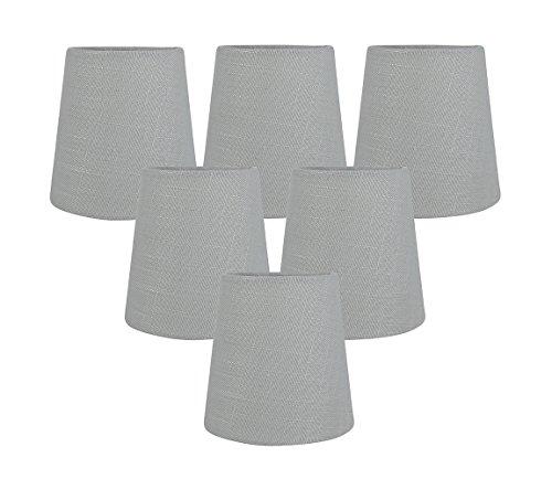 Meriville Kronleuchter-Lampenschirme zum Aufstecken, 8,9 x 11,4 x 11,4 cm, Grau, 6 Stück