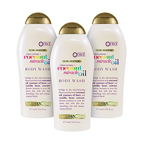 OGX Extra Creamy + Coconut Miracle Oil Ultra Moisture Body Wash, 58.5 Fl Oz, Pack of 3