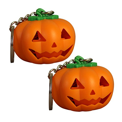 LUOEM Halloween Pumpkin LED Key Ring Light-Up Keychains Halloween Toy Gift with Sound,Pack of 2