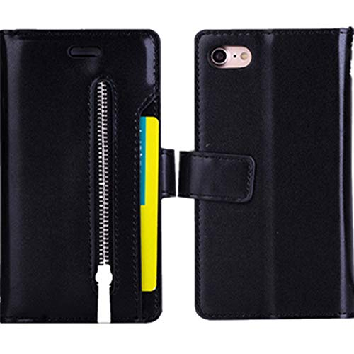 FOLICE iPhone 8 Case, iPhone 7 Case, Zipper Wallet Case [Magnetic Closure]& 9 Card Slots, PU Leather Kickstand Wallet Cover Durable Flip Case for Apple iPhone 8 & iPhone 7 (Black)
