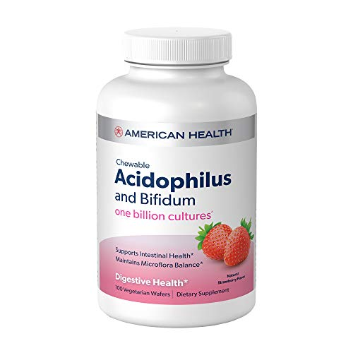 American Health Chewable Probiotic Acidophilus and Bifidum, Natural Strawberry Flavor Wafers - Supports Digestive Health, Intestinal Balance & Immune Function - Vegetarian - 100 Total Servings