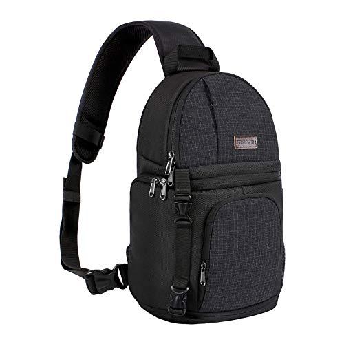 MOSISO Kamera Schutztasche, Rucksack mit verstellbarem Strap und Aufbewahrungsfächern, Wasserresistente stoßfest Kameratasche Kompatibel DSLR/SLR/Mirrorless Cameras, Schwarz