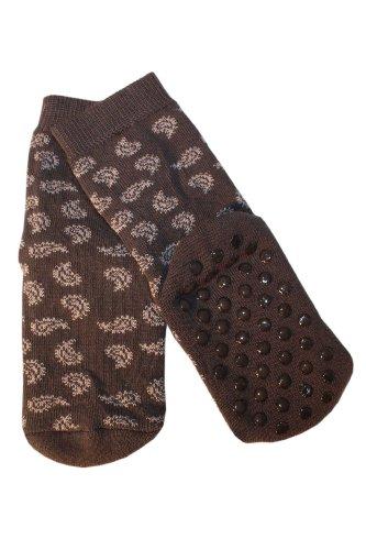 Weri Spezials Kinder ABS Socke Frotee-Sohle Paisley Motiv in Grau, Gr.23-26 (3-4 Jahre)