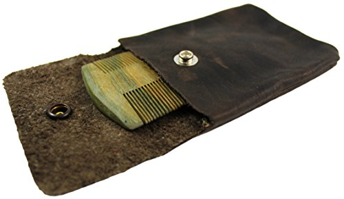 Fine Tooth Sandalwood Beard Comb and Leather Carrying Pocket Pouch